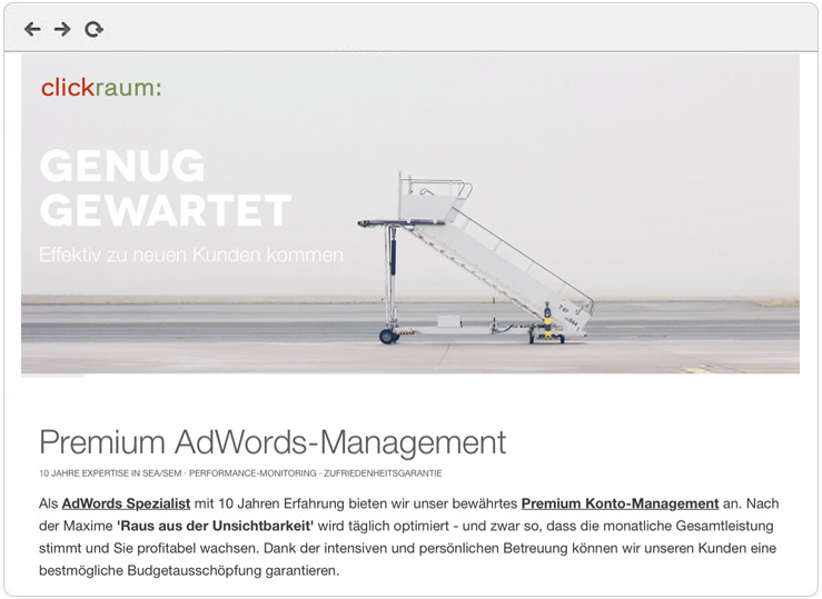 Screenshot AdWords Premium Management